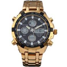 QUAMER 165 Quartz Sport Muti-Functional Wrist Watch With Analog&Digital Time Display (Gold + Black) - Intl