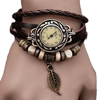 Quartz Weave Wrap Synthetic Leather Bracelet Women's Wrist Watch 5 Colors (Collee)