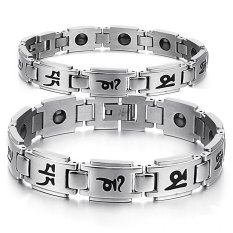 Queen Korean Fashion Simple Gifts Wholesale Health Couple Titanium Steel Bracelet (Silver) - INTL