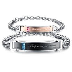 Queen Korean Fashion Titanium Steel Couple Diamond Zircon Bracelet Wristband Wholesale () - INTL
