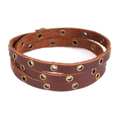 Queen Ladies Original National Style Leather Rivets Retro Jewelry Hand-Woven Multi-Layer Winding Bracelet (Brown) - INTL