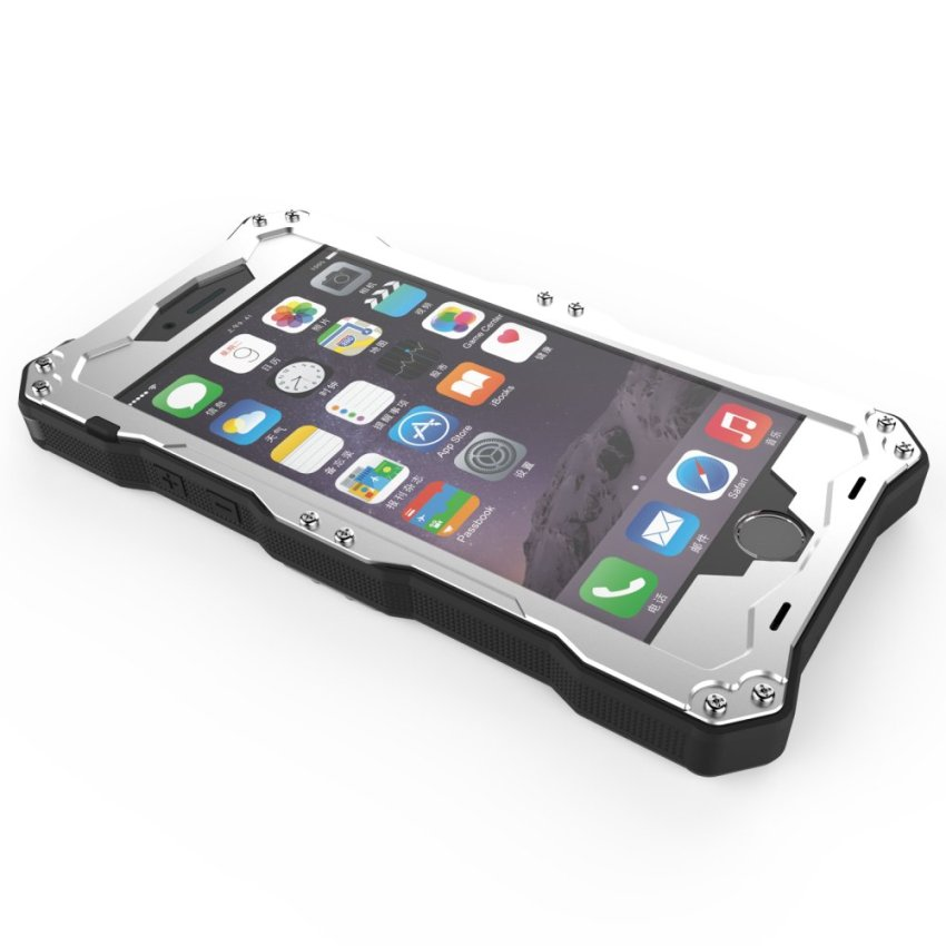 R-JUST Upgrade Gundam Waterproof Shockproof 5.5ΓÇ¥Metal Gorilla Glass Case Cover for iPhone 6 Plus Silver