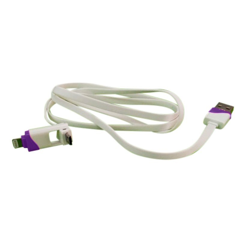 Ranselku Cable data/Charger iPhone Samsung 2 in 1 seri B - Ungu