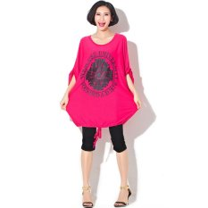 Red Color Casual Loose Womens T Shirt 2015 Style Batwing Sleeve Printed Large Size M~4XL Fat Mm Tshirt Women Ropa Mujer