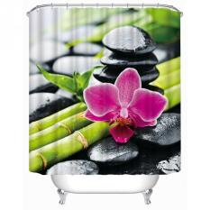 Red Flower Bamboo Stone Family Bathroom Shower Curtain Simple Polyester Ring Pull Easy To Install