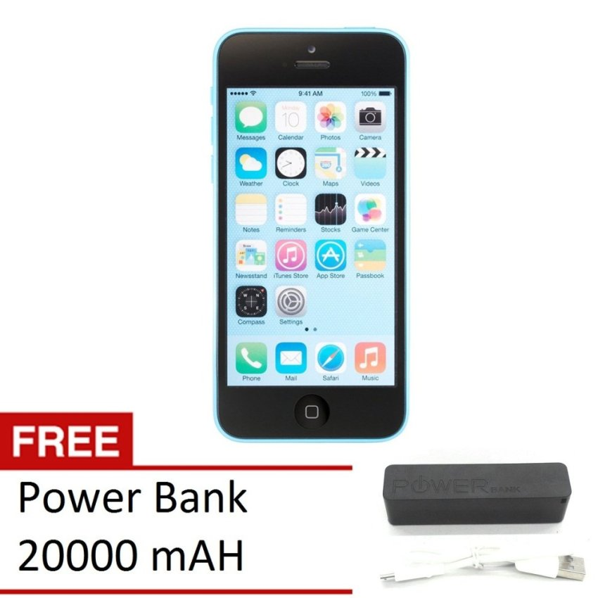 Refurbished Apple iPhone 5C - 32 GB - Biru - Grade A + Gratis Power Bank 20000mAH