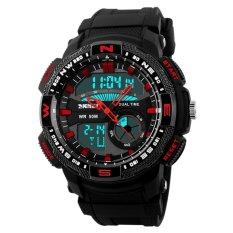 REGU SKMEI Men 5ATM Waterproof Swimming Sport Digital & Analog Watch Red + Exquisite Gift Box
