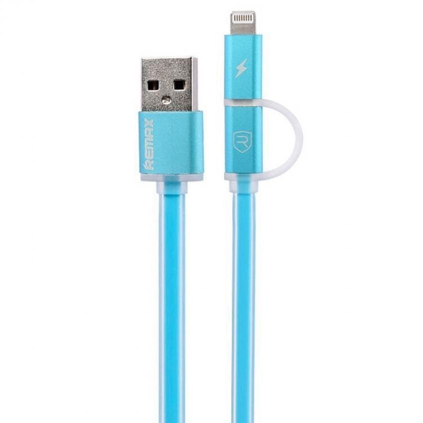 Remax Aurora 2 in 1 Cable Micro USB & Lightning - Biru