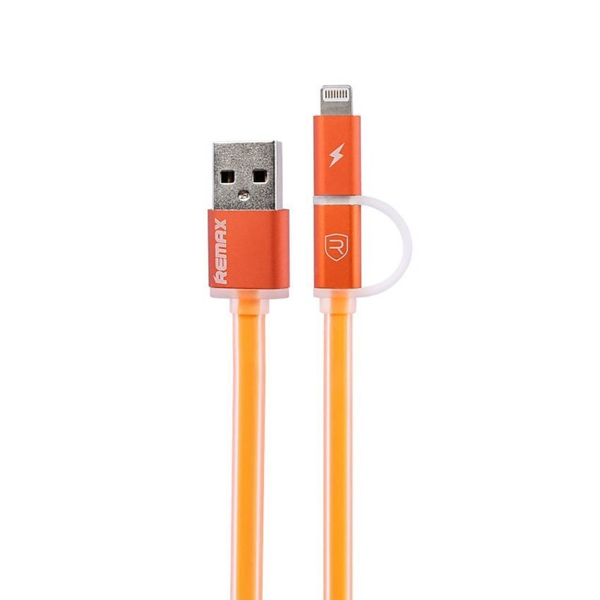 Remax Aurora Cable 2 in 1 Apple and Micro USB Cable Data - Oranye