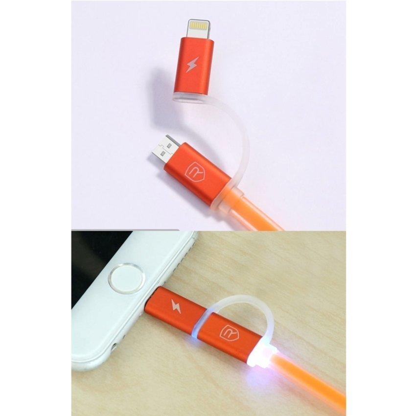 Remax Aurora Cable 2 in 1 Apple Lightning dan Micro USB Kabel Data - Hijau