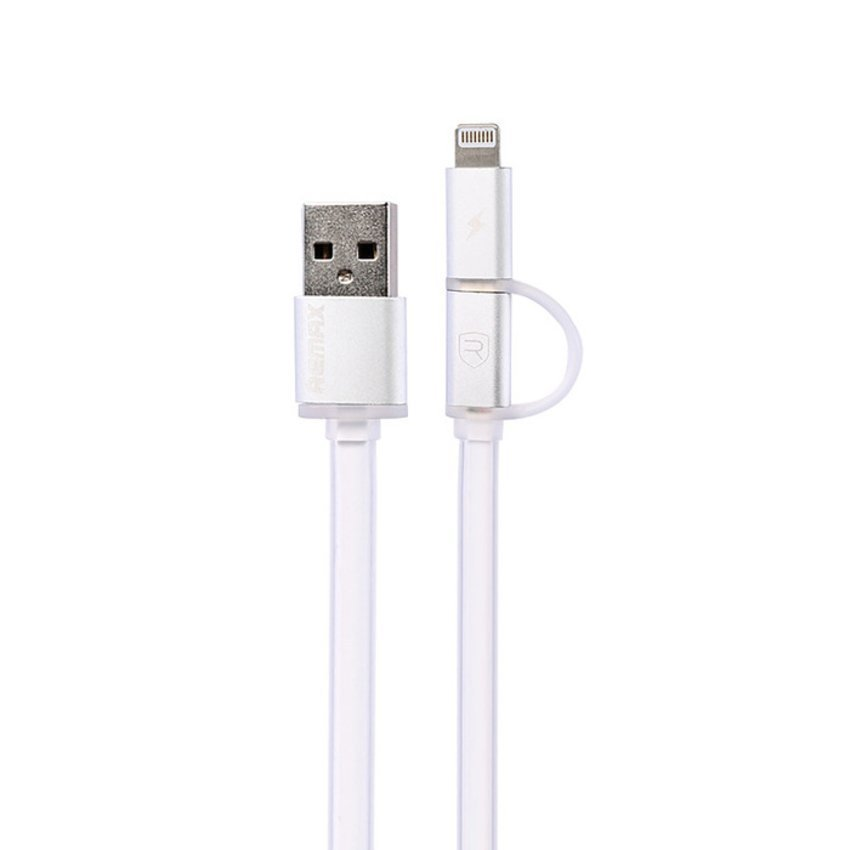 Remax Aurora Cable 2 in 1 Apple Lightning dan Micro USB Kabel Data - Putih