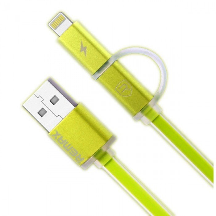 Remax Aurora Cable Micro USB dan Iphone 1m - Hijau