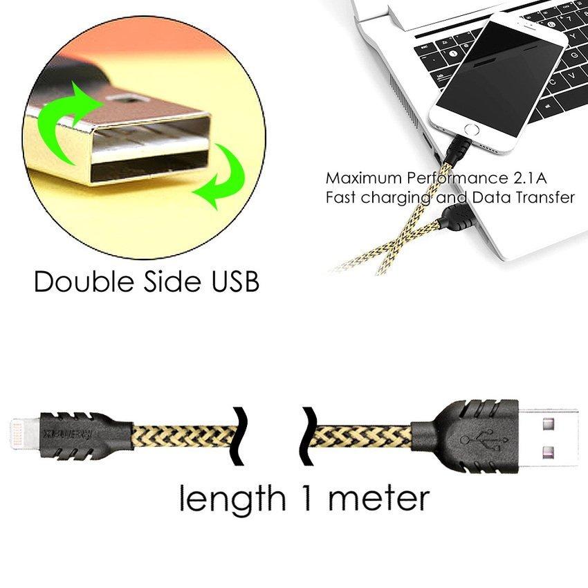 Remax Nylon Cable iPhone 5/6 - iPad Mini/Air Lightning Kabel Data - Biru