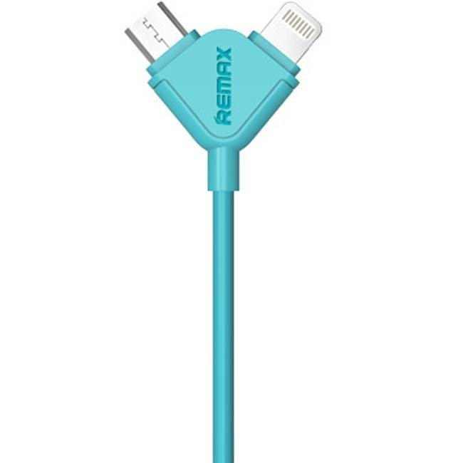 Remax Souffle 2 in 1 Cable Micro USB + Iphone 1M - Biru