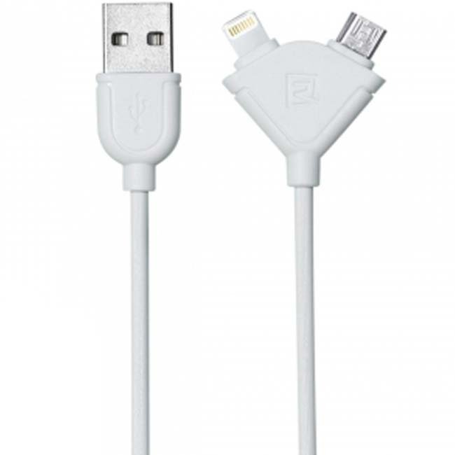 Remax Souffle 2 in 1 Cable Micro USB + Iphone 1M - Putih