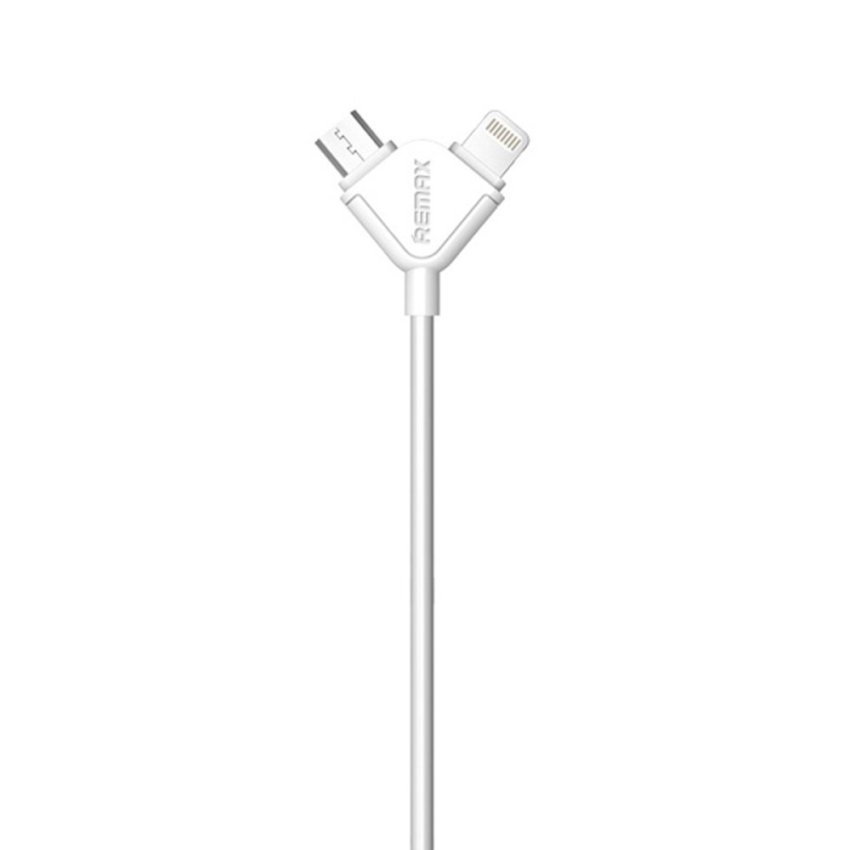 Remax Souffle 2in1 Lightning and Micro USB Kabel Data - Putih