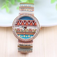 Retro Personality Patterns Elastic Alloy Diamond Watch Men and Women Fashion Printing Pull Strap Watch Casual Watch (Intl)