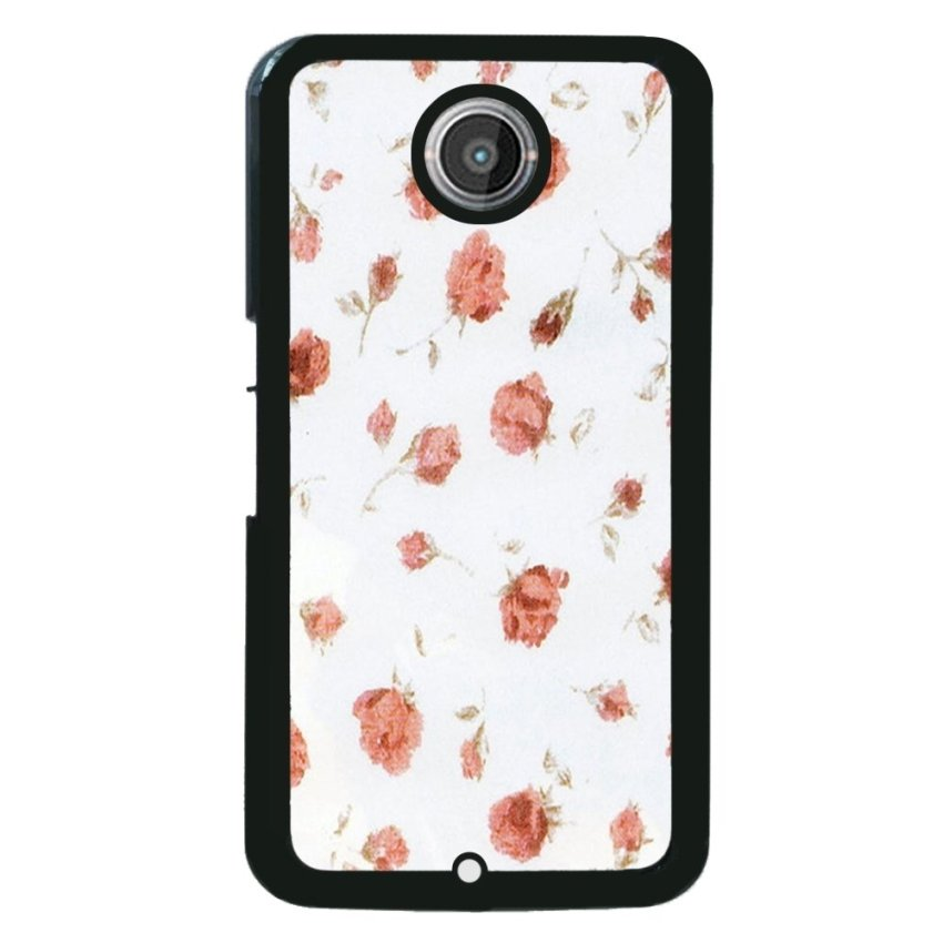 Retro Stripe Flower Pattern Phone Case for Motorola Nexus 6 (White)
