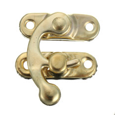 Retro Swing Hook Clasp For Leather Craft Bag Wood Crafting Case Box With Screws Gold Left - Intl