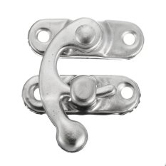 Retro Swing Hook Clasp For Leather Craft Bag Wood Crafting Case Box With Screws Silver Left - Intl