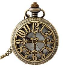 Retro Vintage Big Numbers Hollow Pattern Flip Up Quartz Pocket Watch With Chain