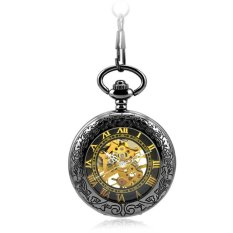 Retro Vintage Carved Pattern Hollow Flip Up Mechanical Hand Wind Clear Lid Pocket Watch With Chain (Intl)
