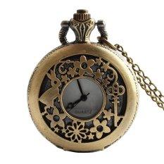 Retro Vintage Rabbit Flower Key Hollow Carved Pattern Flip Up Quartz Pocket Watch With Chain