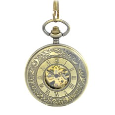 Retro Vintage Roman Number Carved Pattern Flip Up Mechanical Hand Wind 2 Sides Open Pocket Watch With Chain - INTL