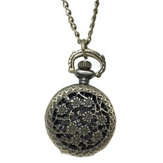 Retro Vintage Sunflower Hollow Carved Pattern Flip Up Quartz Pocket Watch With Chain - INTL