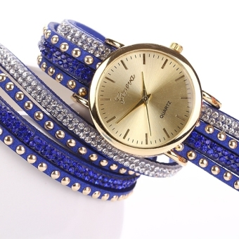 Rhinestone Rivet Circle Belt Synthetic Leather Bracelet Watch Wrist Watch (Red)