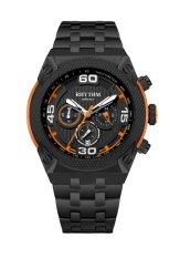Rhythm S1412.06 - Jam Tangan Pria - Stainless - Black Orange