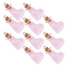 RIS 10pcs Pink Glass Cork Bottles Vial Wishing Bottle DIY Pendant -Oblique Heart - Intl