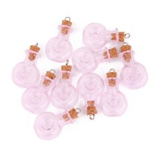 RIS 10pcs Pink Glass Cork Bottles Vial Wishing Bottle DIY Pendant - XO Bottle - Intl