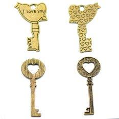 RIS 9 Pcs Antique Bronze Large Key Necklace Pendant Charms Heart Religion Love