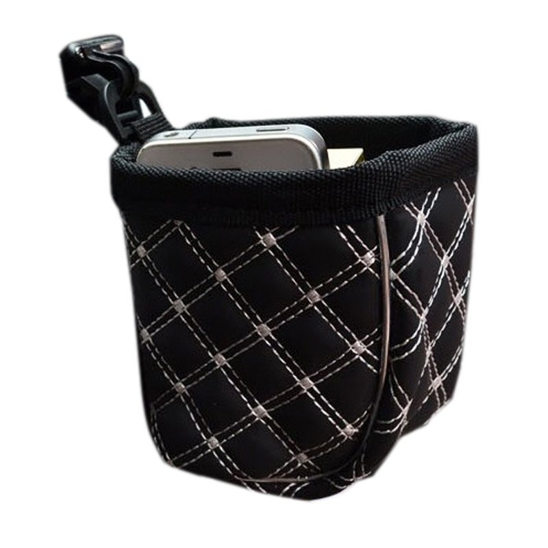 Rorychen Mini Trash Can Storage Bag Phone Holder Pouch (Black/White) (Intl)