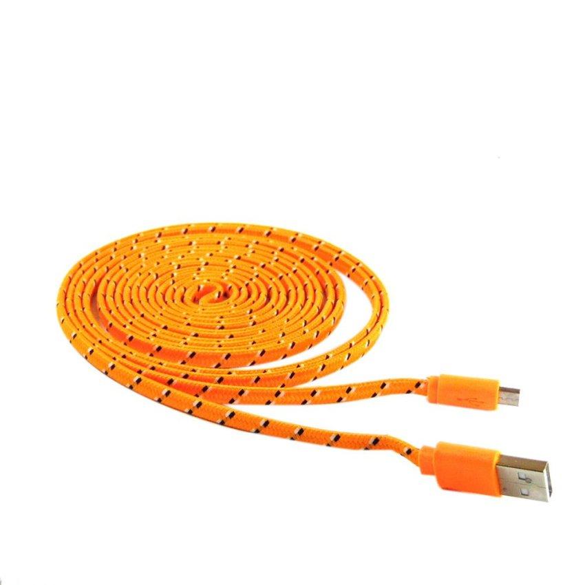 Rotamart Kabel Charging Micro USB Tali Sepatu 3 Meter - Orange-Hitam-Putih