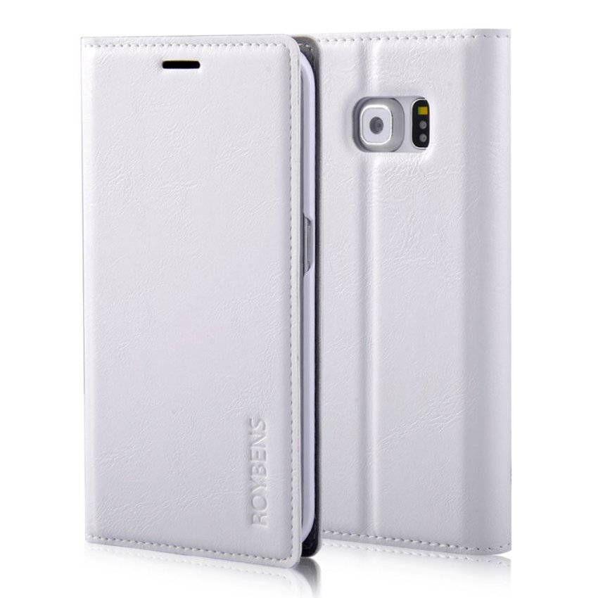 Roybens Flip Leather Wallet Stand Cover for Samsung Galaxy S6 (White) (Intl)