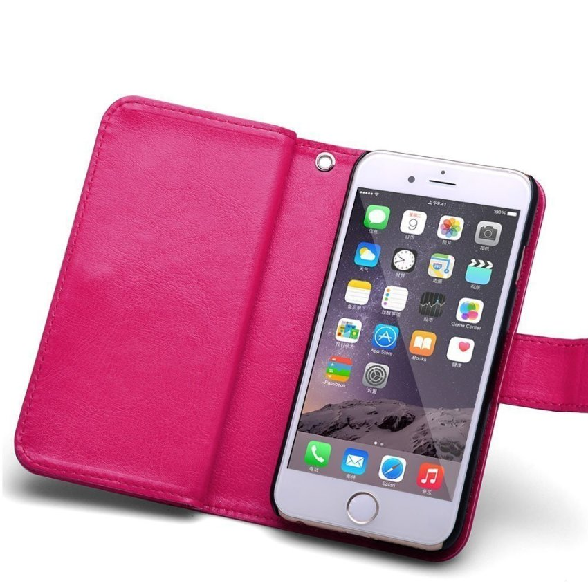 Roybens Leather 9 Card slot Wallet Magnetic Detachable Flip Stand Cover for iPhone 6/6S Pink (Intl)