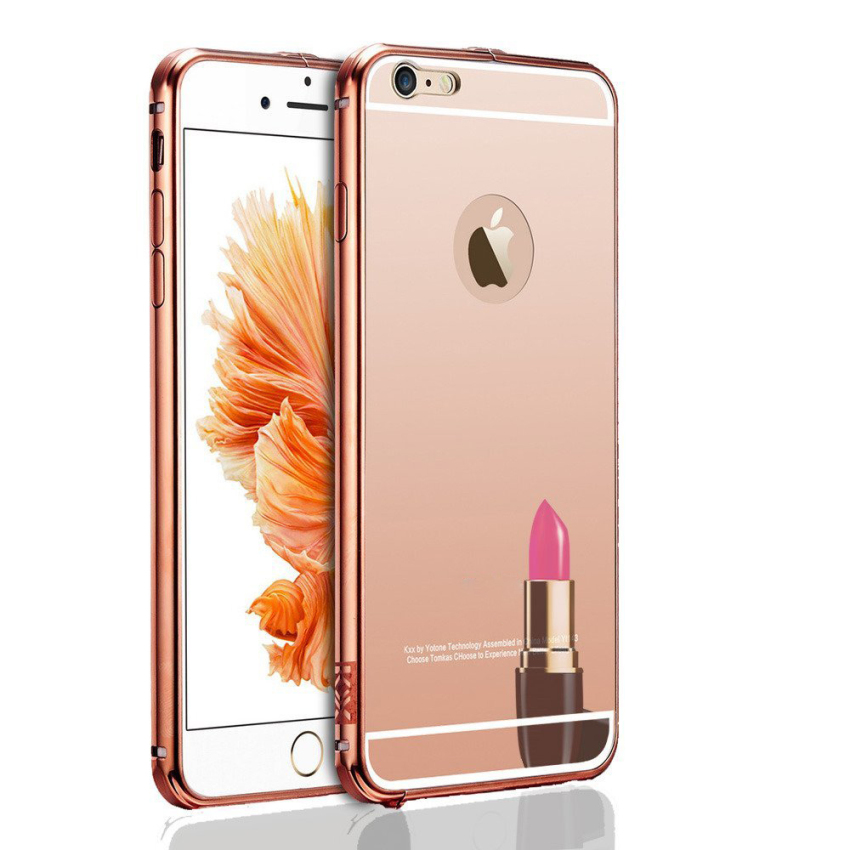 Roybens Luxury Air Aluminum Ultra Thin 2 in 1 Detachable Mirror Metal Frame Bumper Hard Back Case cover for Apple iPhone 6s Plus RoseGold (Intl)