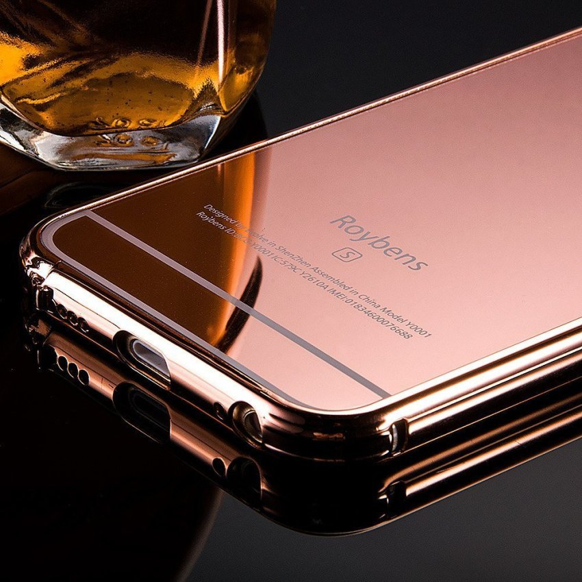 Roybens Luxury Air Aluminum Ultra Thin 2 in 1 Detachable Mirror Metal Frame Bumper Hard Back Case cover for Apple iPhone 6s RoseGold (Intl)