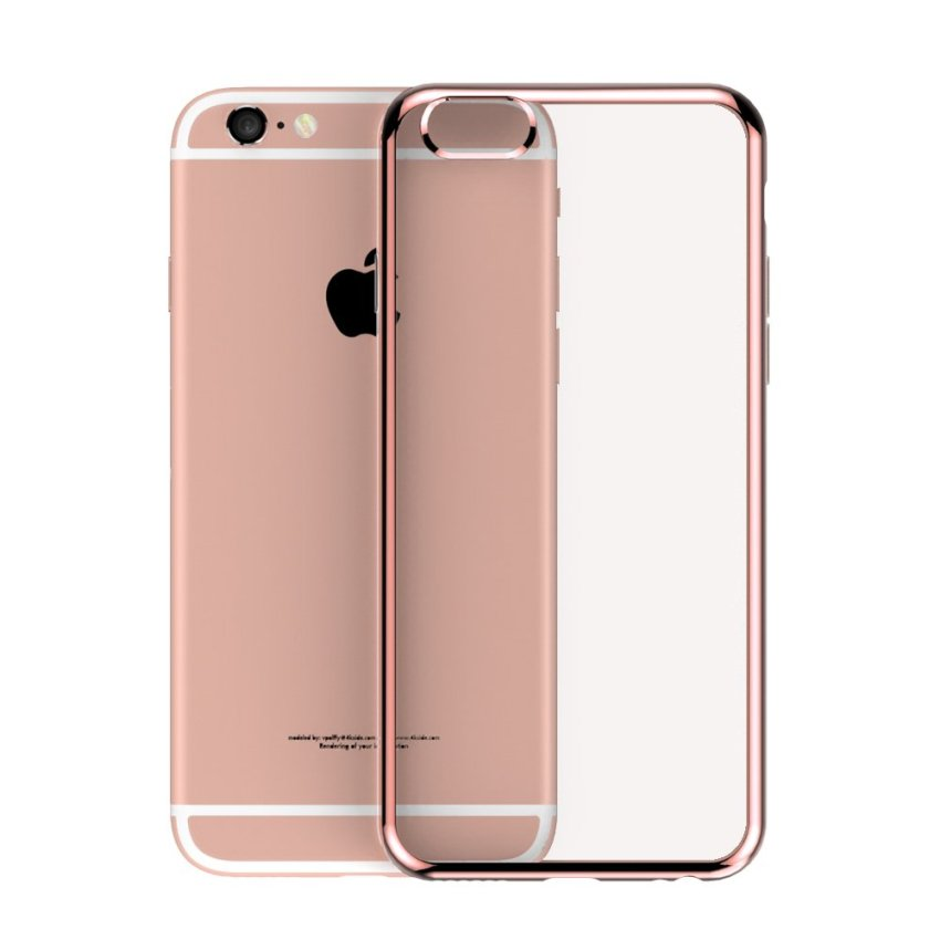 Roybens Ultra-thin Sillicone TPU Metal Soft Case for Apple iPhone 6/6S Plus (Rose Gold) (Intl)
