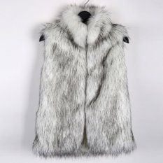 RUIYIGE Grass Vest And Long Sections Collar Fur Vest Leather Vest Outerwear Women CoatBlack (White) (Intl)