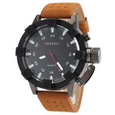 S & F JUBAOLI 1031 Mens Arabic Numbers Design 24 Hour Analog Display Qaurtz Wrist Watch With Hole Style PU Leather Band - Black + White- Intl