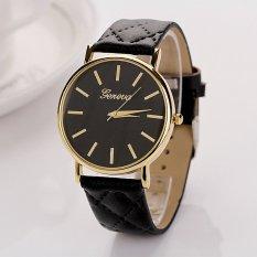 S & F Womens Watches Grid Unisex Leather Quartz Dress WristWatch Black