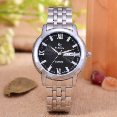 Saint Costie Original Brand, Jam Tangan Pria - Body Silver - Black Dial - Stainless Stell Band - SC-RT-8006G-SB