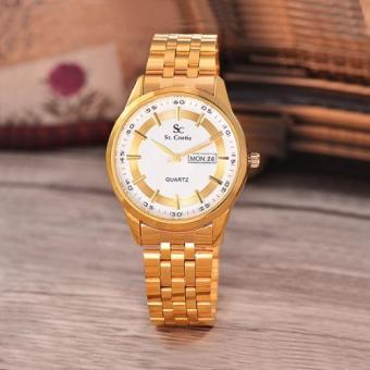 Saint Costie Original Brand, Jam Tangan Wanita - Body Gold - White Dial - Stainless Stell Band - SC-.