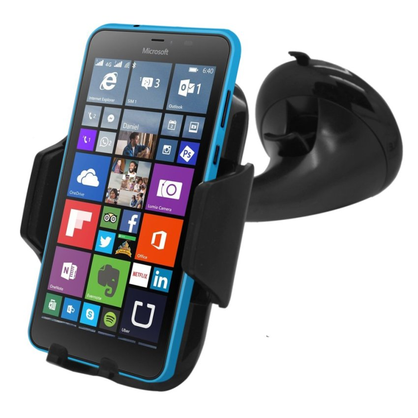 Samrick Specially Made To Measure 360 Degree Rotation Car Windscreen/Dashboard Mount/Holder With One-Step Mounting Technology for Microsoft Lumia 640 (Black) (Intl)