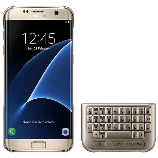 Samsung QWERTY Keyboard Cover Case Original for Galaxy S7- Gold