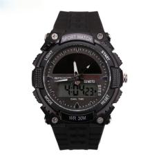 SANDA Solar Digital Men Watches Outdoor Sport Watch Waterproof Multifunction Climbing Dive Led Digital Watches Men's Wristwatch (Black)
