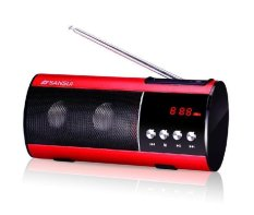 Sansui D1.2.0 Channel Speaker (Plug-in Card) Radio & MP3 Player - Red